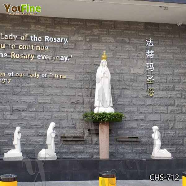 Classic Life Size Fatima with Three Children Marble Statue for Sale