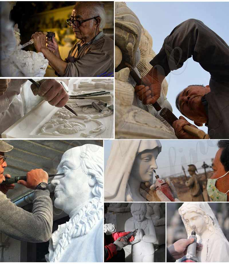 process of Marble Jesus with Children Statue