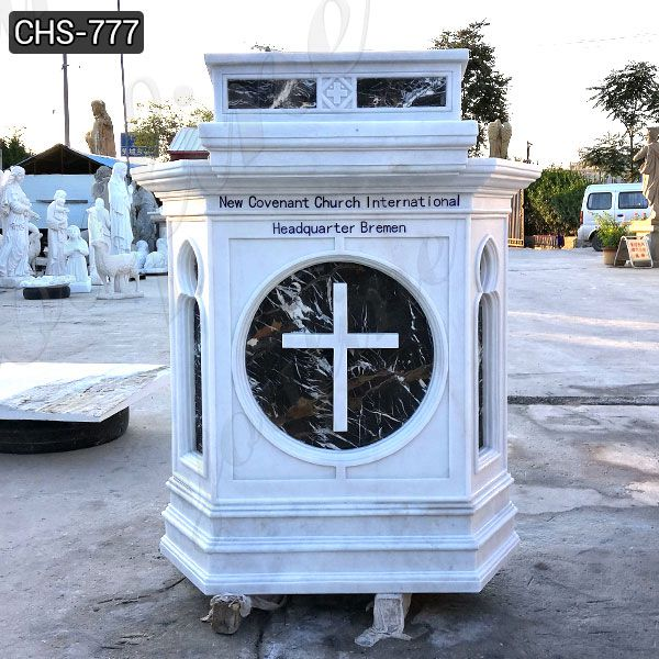 Hand Carving Natural White Marble Church Pulpit for Sale