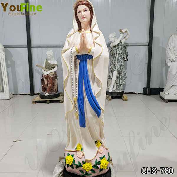 Colored Painted Marble Our Lady of Lourdes Statue for Church Suppliers