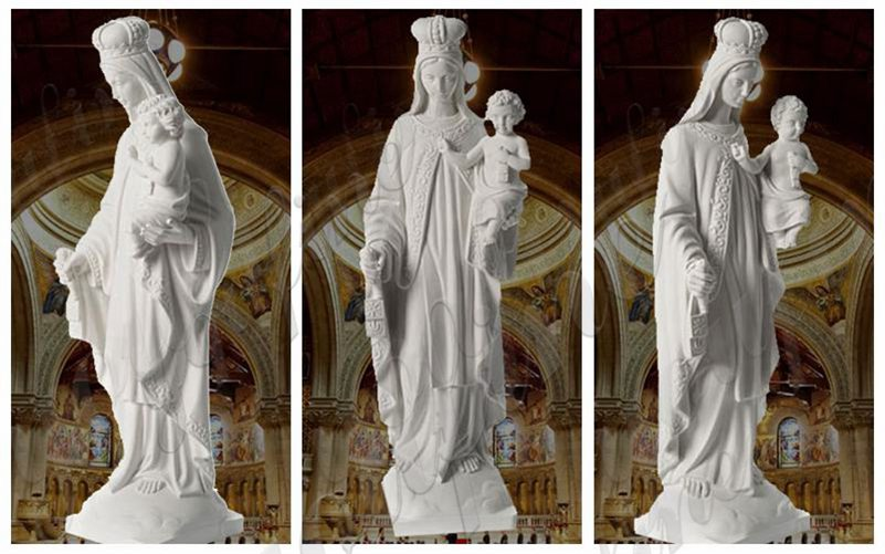 White Marble Our Lady of Mount Carmel Statue for Sale