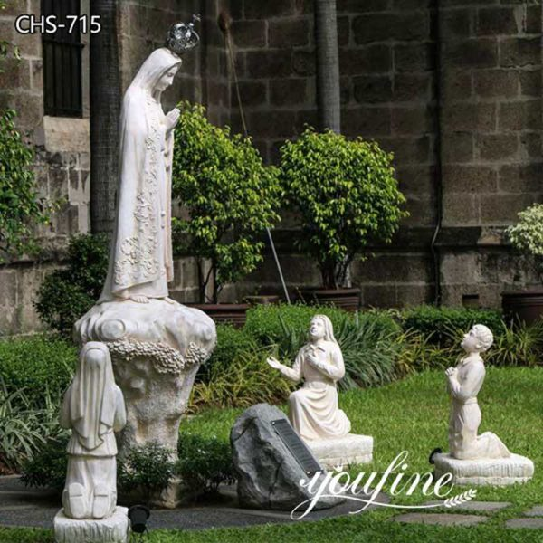 Life Size White Marble Fatima with Three Children Statue Factory Supply