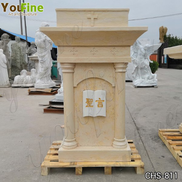High Quality Custom Beige Marble Church Pulpit for Sale