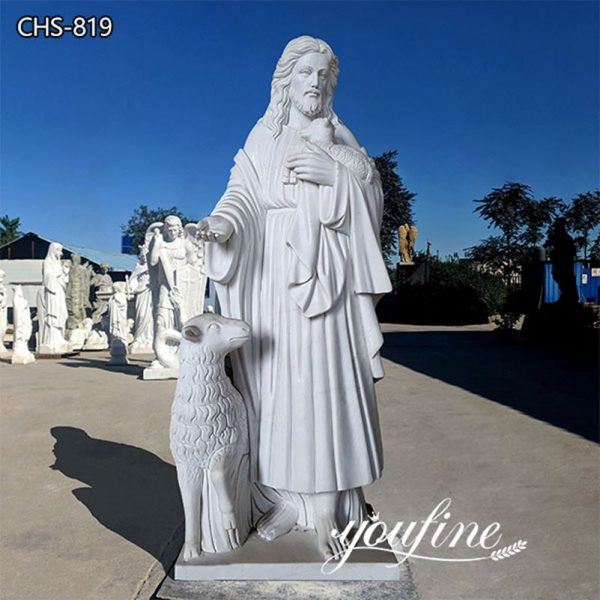 Life Size Jesus and Lamb Marble Statue of the Good Shepherd for Sale