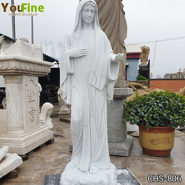 Catholic Marble Life Size Mary Statue Church Garden Decor for Sale