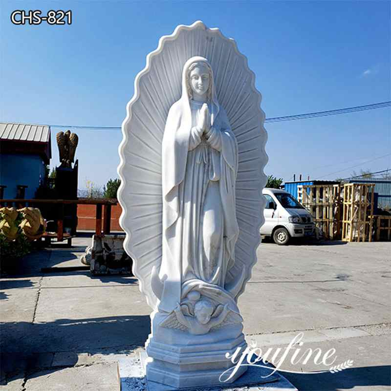 Hand Carved Life Size Marble Virgin of Guadalupe Statue for Sale