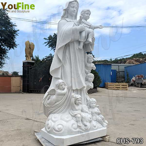 Catholic Life Size Marble Mother Mary and Children Statue for Sale